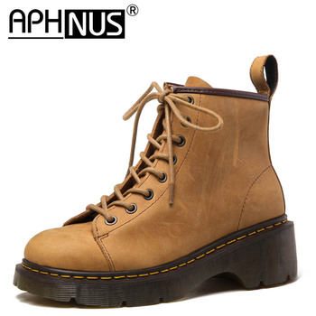 APHNUS Womens Boots Motorcycle Short Ankle Booties Flats Low Mid Heels Pumps Platforms Trifle Woman 2020 Shoes For Women Boot frye womens diana stud short boot