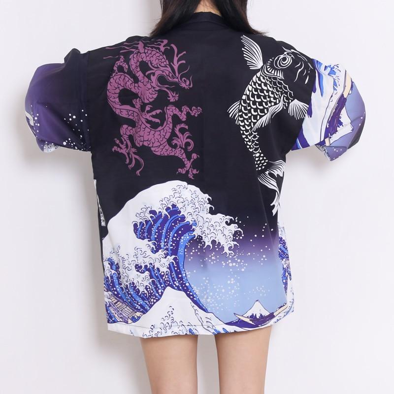 Fish Wave Print Japanese Kimono With Belt Streetwear Cardigan Haori Harajuku Robe Japanese Clothes Yukata Men Women Jacket Tops