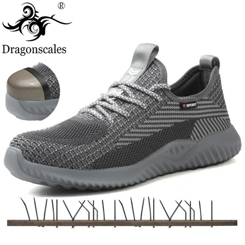 Лидер продаж; Мужская Рабочая обувь с защитой от проколов; дышащая Нескользящая модная удобная легкая мужская защитная обувь