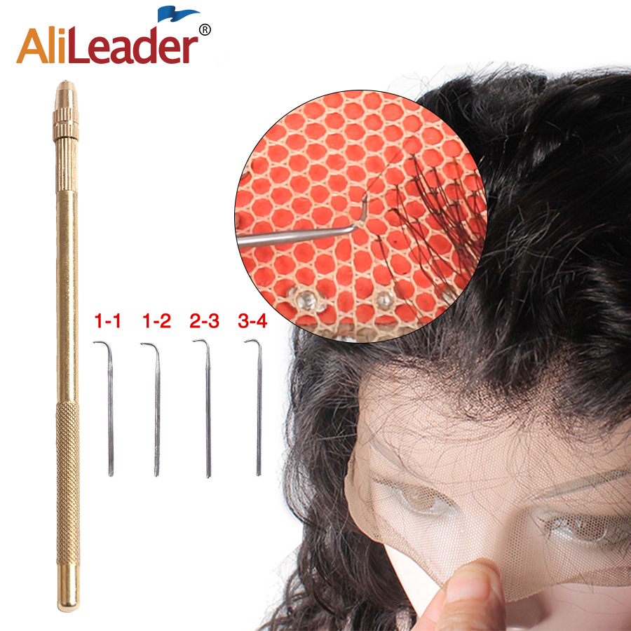 5pcs/Set Ventilating-Needle Lace-Frontal Copper-Handle Making Professional Alileader