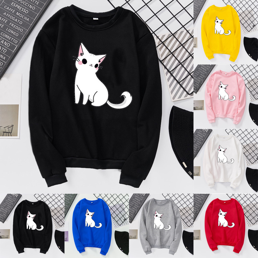Unisex Men Women Casual Long Sleeve O-Neck Cat Printed Sweatshirt Pullover Female Cotton blouse 4 color 2020 popular