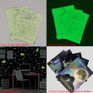 3 шт./компл., мультяшная мышь, кот, светящиеся наклейки на стену, звезды, луна, спальня, украшение для дома, Фреска, детская комната, светящиеся в темноте наклейки