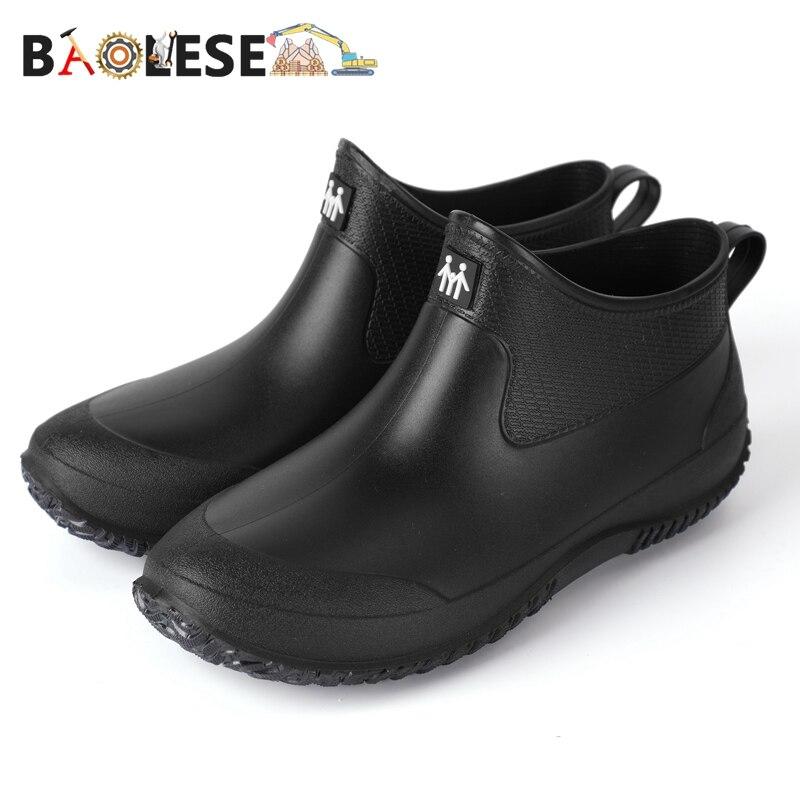 Baolesem botas de chuva masculinas botas de borracha homem à prova de água anti-skid colorido unisex botas de tornozelo de pouco peso botas de água high end
