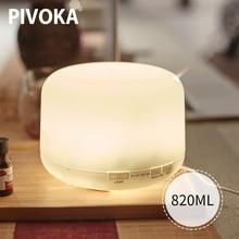 PIVOKA 820 مللي الروائح معطر الهواء مرطبات الكهربائية الناشر زيت طبيعي Huile أساسيات مع LED ليلة مصباح للمنزل