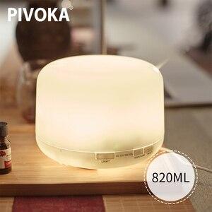 Image 1 - PIVOKA 820ml ארומתרפיה מפזר אוויר אדים חשמלי מפזר חיוני שמן Huile Essentiel עם LED לילה מנורת עבור בית