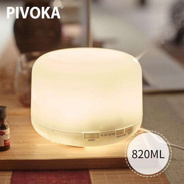 PIVOKA 820ml ארומתרפיה מפזר אוויר אדים חשמלי מפזר חיוני שמן Huile Essentiel עם LED לילה מנורת עבור בית