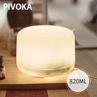 Pivoka 820ml aromaterapia difusor humidificadores de ar difusor elétrico óleo essencial huile essentiel com led noite lâmpada para casa|Umidificadores| |  -