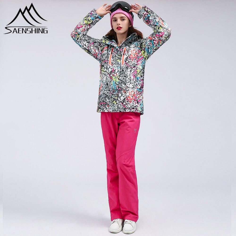SAENSHING combinaison de Ski femmes imperméable veste de Ski ensemble de Snowboard coupe-vent thermique Snowboard costumes Ski en plein air Ski hiver costume