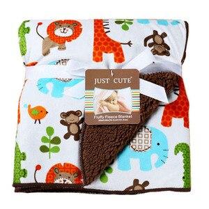 Image 2 - Bebek battaniye sıcak mercan polar bebek kundak kalınlaşmak çift katmanlı çeşitli karikatür arabası Wrap yenidoğan bebek yatak battaniyesi