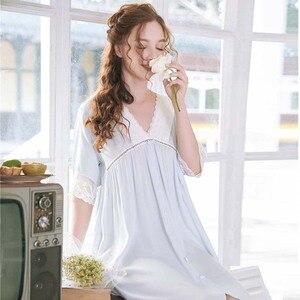 Image 2 - Roseheart נשים לבן סקסי הלבשת לילה שמלת תחרה Homewear Nightwear יוקרה כתונת לילה נשי משפט שמלת כותנה