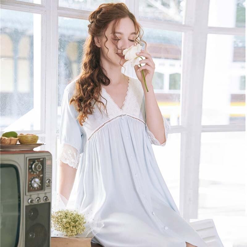 Image 2 - Roseheart Women White Sexy Sleepwear Night Dress Lace Homewear Nightwear Luxury Nightgown Female Court Gown CottonNightgowns & Sleepshirts   -