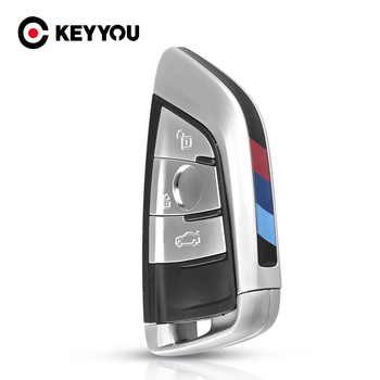 KEYYOU 3 Buttons Car Smart Card Fob Remote Key Shell Insert Blade Case For BMW X5 X6 F15 X6 F16 G30 7 Series G11 X1 F48 F39 image