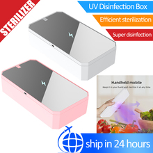 XD01 Multifunctional UV Smartphone Sanitizer LED UVC Light Mask Makeup Brush Disinfector 0.5W Wireless Charger Vanity Mirror