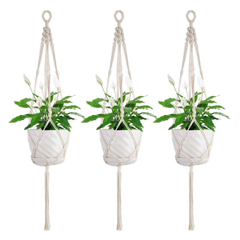 Macrame Plant Hangers Indoor   3 Pack Wall Hanging Planter Baskets Holder With Hooks|Flower Pots & Planters| |  - title=