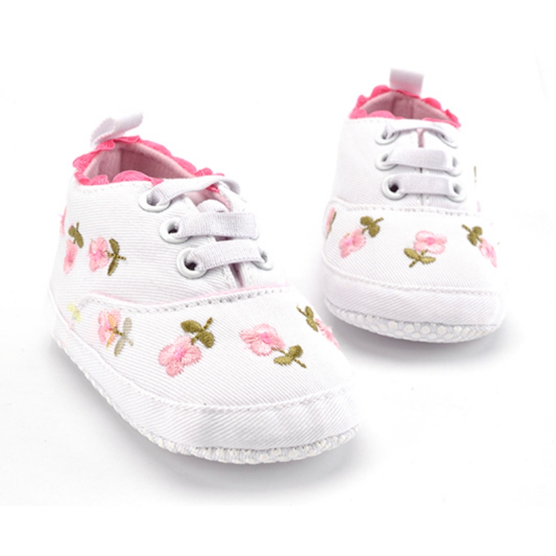 Embroidery Flower Toddler Newborn Shoes Cotton Soft Sole Infant Sneaker First Walkers Crib Canvas White Baby Girl Shoes