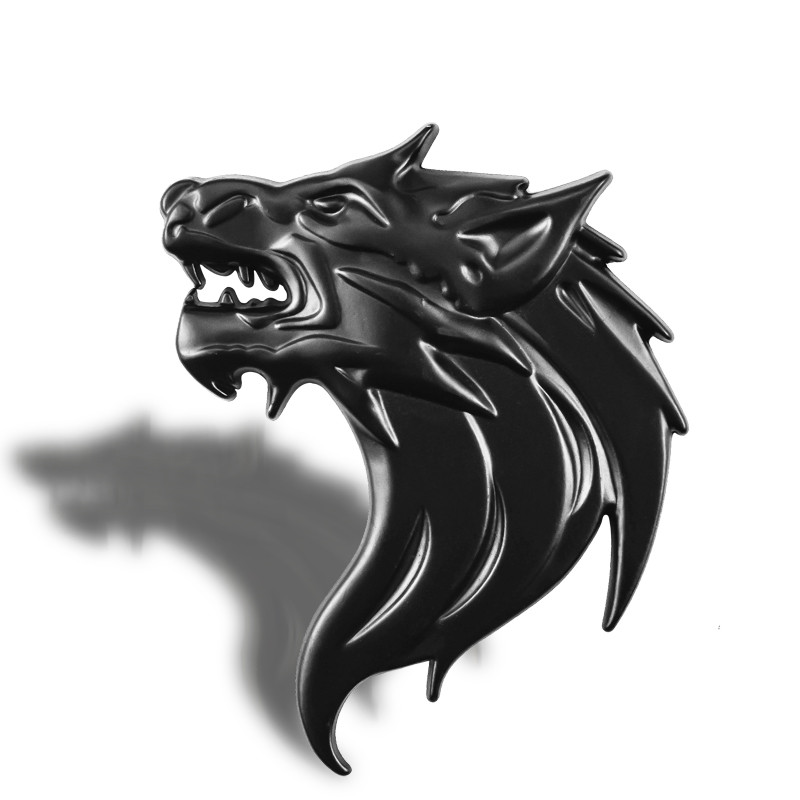 Car Styling 8 * 6 cm Wolf Head Logo Beast Stickers Decoration Accessories Beast 3D Metal Auto Side Fender Trunk Emblem Badge