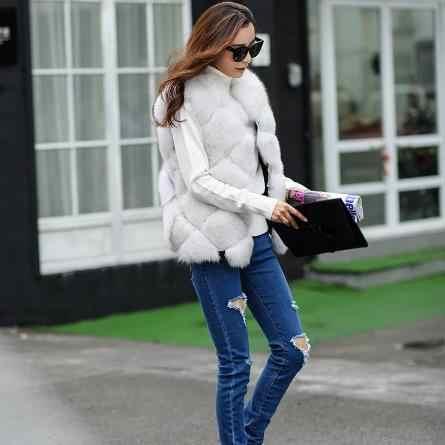 Fashion Women faux fur Coats 2020 Women Winter Sleeveless Faux Fox Fur Leather Thick Coat Outerwear Plus Size Padded Jackets J19