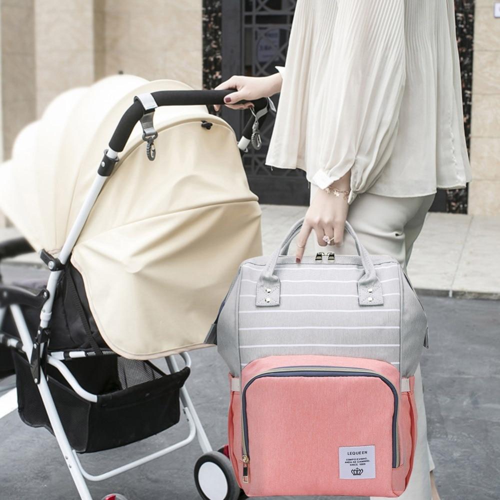 H5ef96fbb7e28420cbe023f5ce2f920c7M LEQUEEN Fashion USB Mummy Maternity Diaper Bag Large Nursing Travel Backpack Designer Stroller Baby Bag Baby Care Nappy Backpack