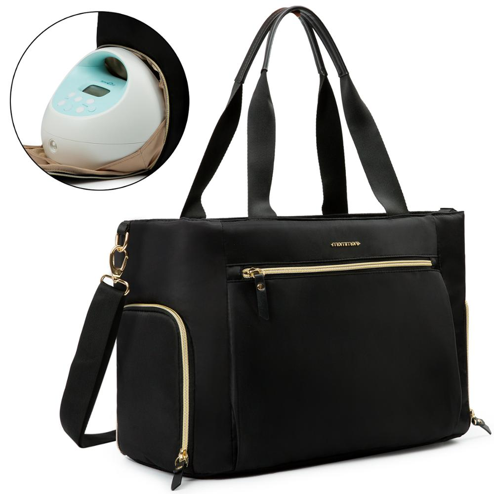 ECOSUSI Breast Pump Bag Diaper Tote Bag For 15 Inch Laptop Fit For Most Breast Pumps Like Medela, Spectra S1,S2, Evenflo