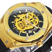 Gold Watch Strap Mechanical-Skeleton WINNER Automatic Mens Luxury Gift Saat Erkek Top-Brand