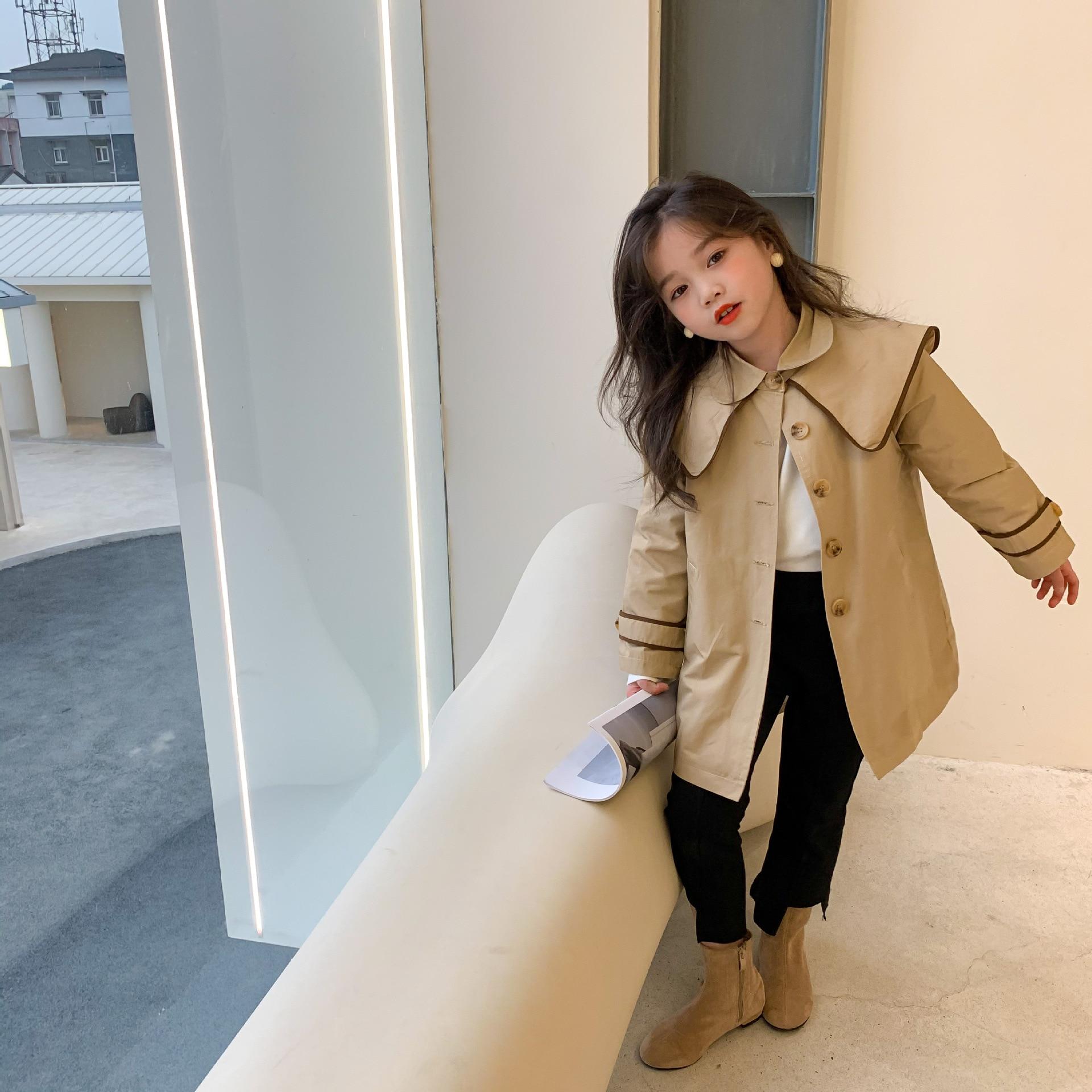 Spring New Children's Clothing Girls Big European and American Style Fashion Windbreaker Windbreaker Jacket Lapel Round Neck