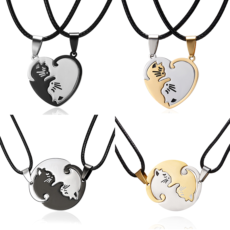 Rinhoo Couple cat Necklace Yin Yang Stainless Steel heart ro…
