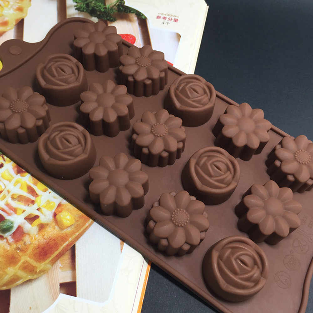 Rongga Silikon Bunga Rose Chocolate Kue Sabun Cetakan Es Batu Nampan Cetakan Forma De Silikon Fondant Kopi Cokelat Cetakan