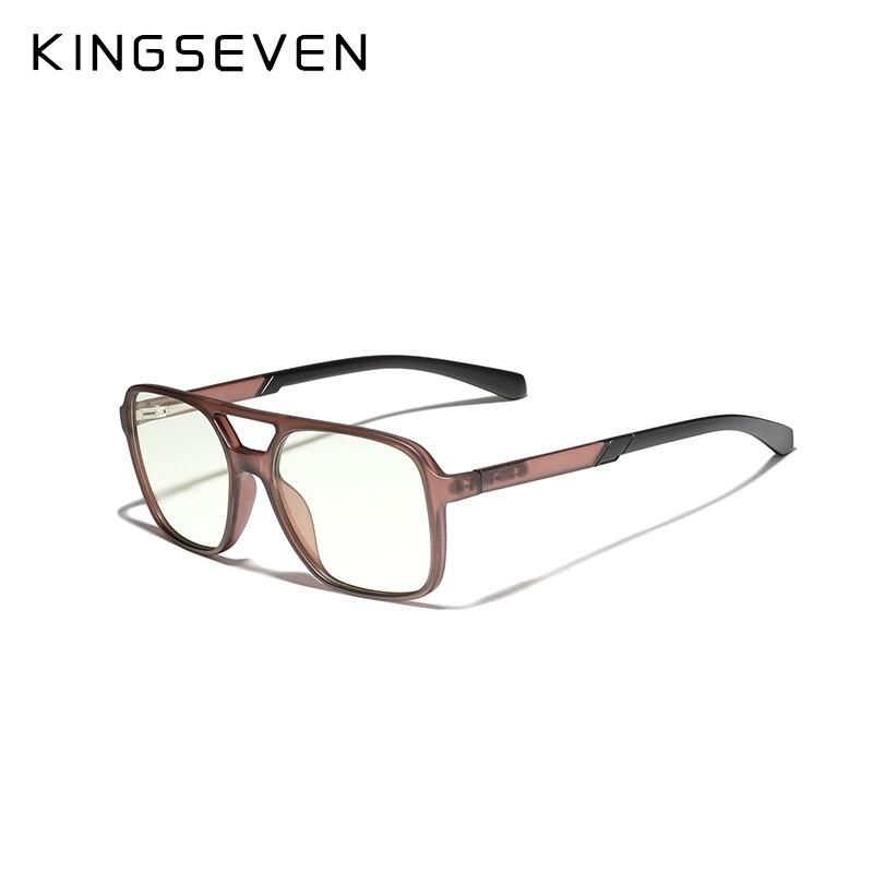 KINGSEVEN-Gafas de ordenador para hombre y mujer, anteojos de diseño TR90 Retro Ray con bloqueo de luz azul para ordenador de videojuegos