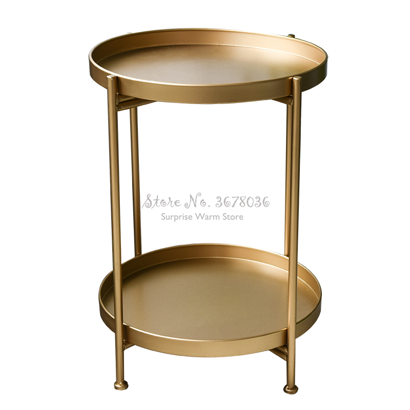 New Iron One Two Layers Coffee Table Round Table Living Room Side Table  Detachable Tray Multi-use Home Furniture Storage Rack