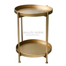 Nueva mesa de centro de hierro de dos capas mesa de salón redonda mesa lateral bandeja extraíble estante de almacenamiento de muebles para el hogar