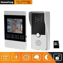 HomeFong interphone vidéo pour porte de 4 pouces, Kit dinterphone vidéo pour la maison, moniteur dintérieur et dextérieur, sonnette vidéo, caméra, vidéosurveillance