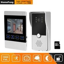 HomeFong wideodomofon 4 cal wideodomofon do domu zestaw do organizacji Monitor wewnętrzny wideo na zewnątrz dzwonek do drzwi uchwyt na aparat CCTV