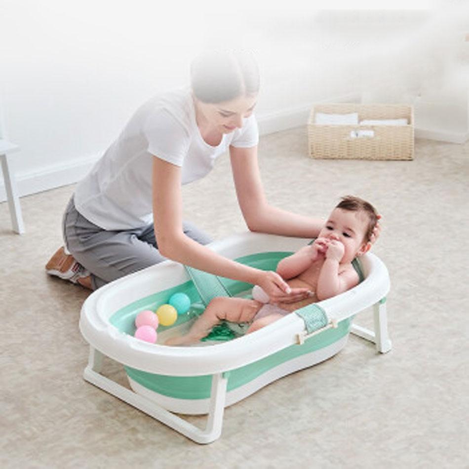 Folding Baby Bath Tub Portable Baby Shower Tubs With Non-slip Cushion Eco-friendly Newborn Bathtub Safe Adjustable Kids Bathtub