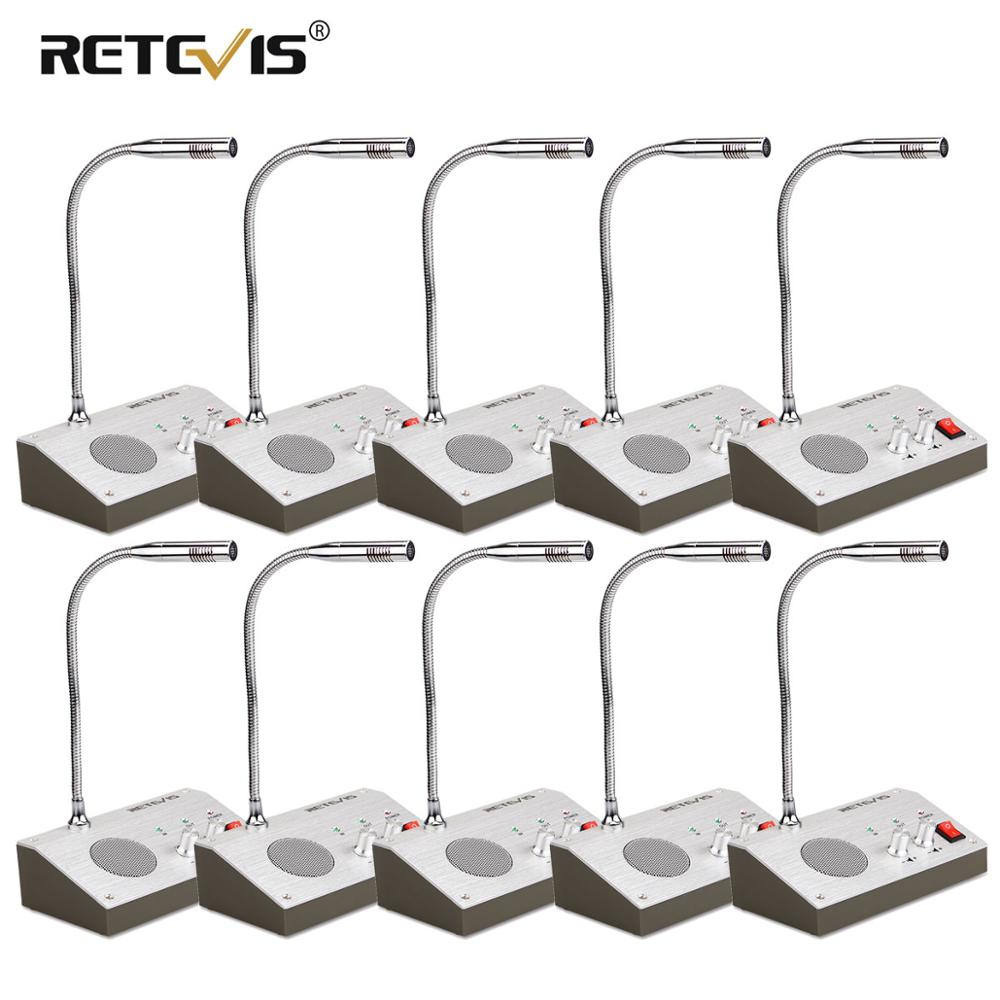 10PCS Retevis RT-9908 Dual-Way Counter Interphone 3W Window Intercom Intercommunication Microphone For Bank Hospital Bus Station