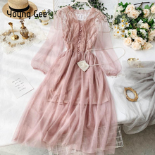 Young Gee Sweet V-neck Women Lace Flower Dress Mesh Bishop Sleeve Female Gown Elastic Waist Dresses With Lining 4 Color Vestidos