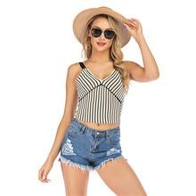 Tops Mujer Verano 2019 Striped Versatile Colorblock Sling Short Vest V-neck Slim Short Fashion Sweater Top Crop Top Lady