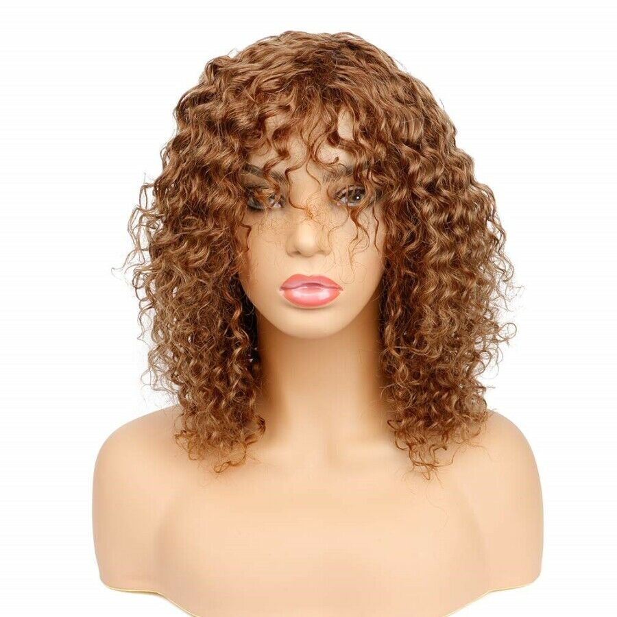 Dark Blonde Kinky Curly Human Hair Lace Front Wig With Bangs European Remy Human Hair Wigs Free Part Pre Plucked Color #30
