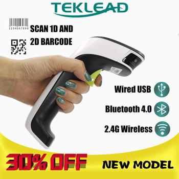 TEKLEAD barcode scanner 1D wired 2D wireless Bluetooth QR code reader PDF417 For Android IOS Windows POS system netum f16 wired 2d barcode scanner and nt 1228bl wireless bluetooth 2d qr pdf417 bar code reader for pos inventory