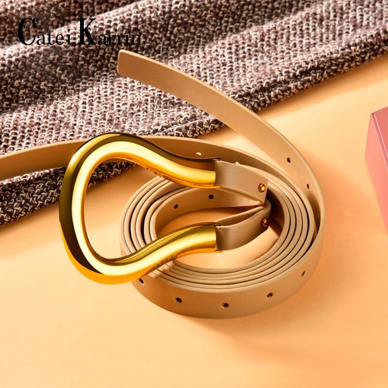 Catei Karrui Genuine Leather Women Belt Luxury Brand Female Fashion Punk Belt Jeans Wild Belt For Women Waist Belts