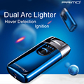 Роскошные Primo Dual Arc USB Зажигалка Hover Detection перезаряжаемый гром Электронная зажигалка светодиодный экран сигаретная плазма индукция