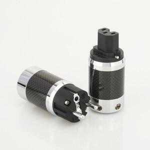 Image 2 - 1 זוג X גבוה באיכות היי סוף האיחוד האירופי Schuko רודיום מצופה סיבי פחמן AC תקע חשמל מחבר הארכת מתאם