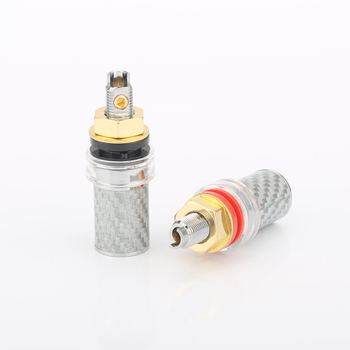 4pcs Rhodium Plated Carbon fiber Amp Speaker Terminal Binding Post