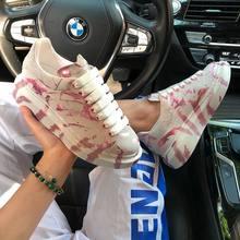 Sapatos casuais femininos de graffiti sapatos de plataforma de sola grossa 2021 respirvel leve sapatos brancos sapatos casuais