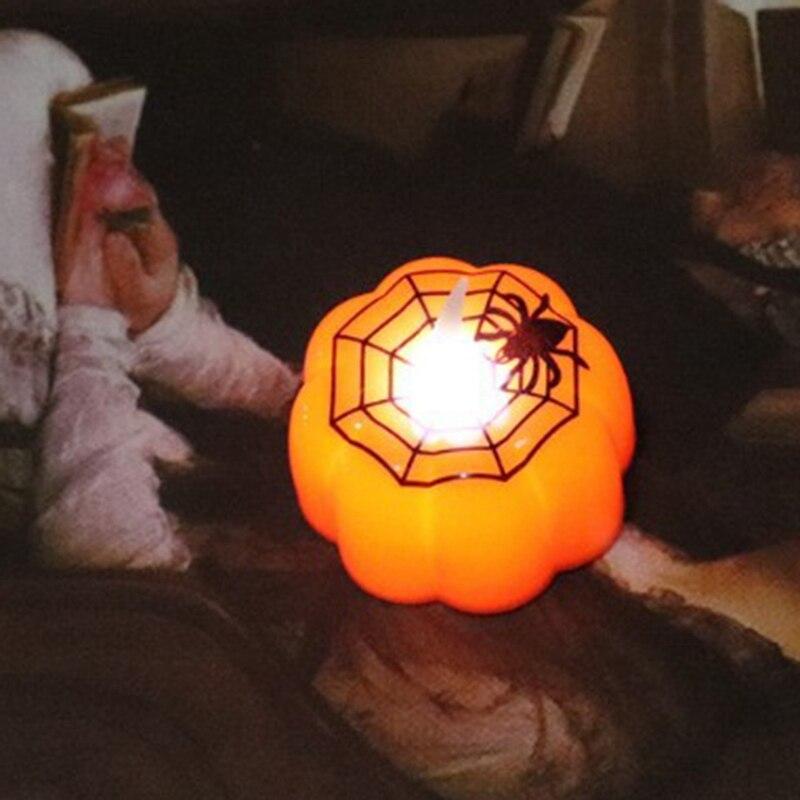 24 Pieces Pumpkin Candle Lights Halloween Decoration Lights Warm White Halloween Home Decoration Accessories