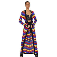 New 2018 in Europe detonation model of beautiful beautiful colour stripe belt with long mesh knitted cardigan coat(China)