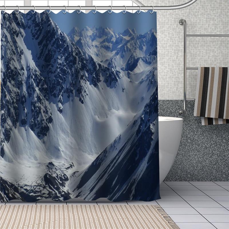 Winter Landscape Snowfall Snowy Mountain Shower Curtain Set Bathroom Decor 180cm