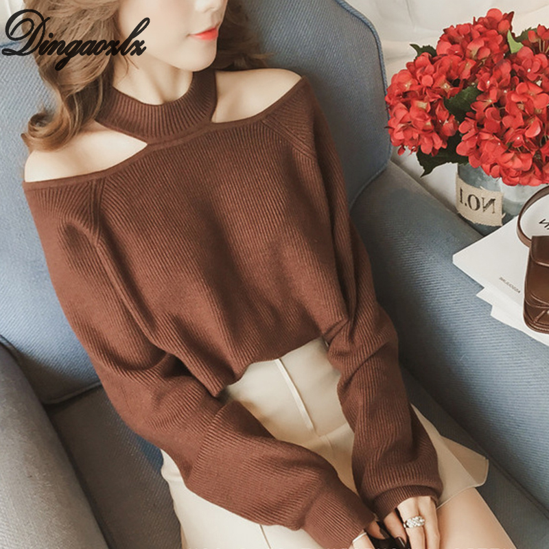 Dingaozlz Autumn Winter Sweater Strapless Long-sleeved Women Shirt Hanging Neck Knitted Sweater Female Tops