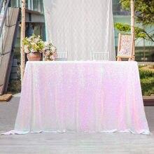 21 cor 225cm x 330cm iridescente branco lantejoulas toalha de mesa 90x132 polegadas toalha de mesa casamento decoração retângulo lantejoulas pano de mesa
