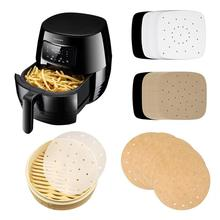 100 Steaming Basket Mat Air Fryer Steamer Liners Premium Perforated Wood Pulp Papers Non-Stick Baking Cooking Tools Accessories