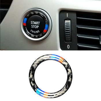 Colorful Carbon Fiber M Car Engine Start Stop Button Stickers With 3M Tape For BMW E90 E92 E93 Z4 E89 2009-2012 image